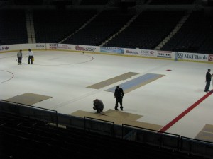 advertisements all over the ice!