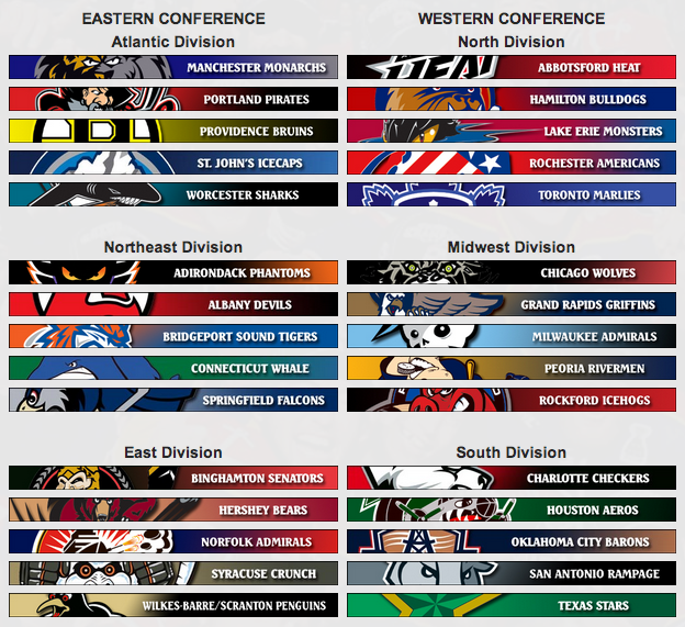 2012-2013 AHL Conferences and Divisions
