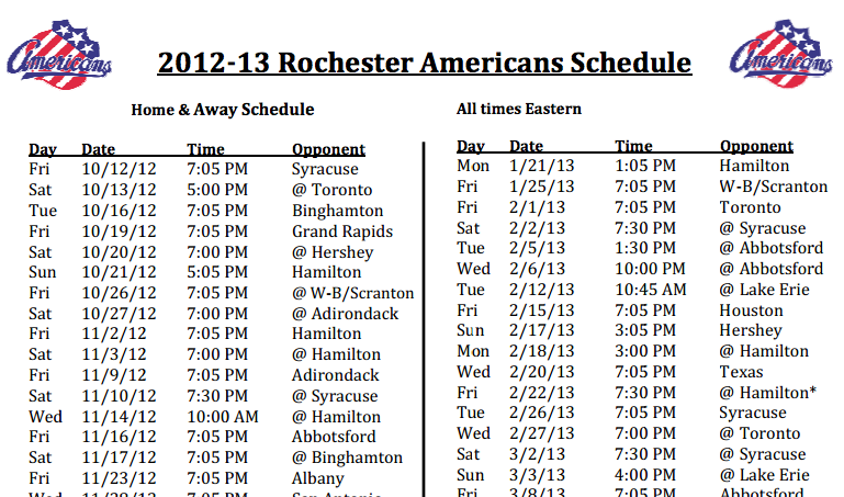 Amerks 2012-2013 Schedule by some Numbers and Highlights